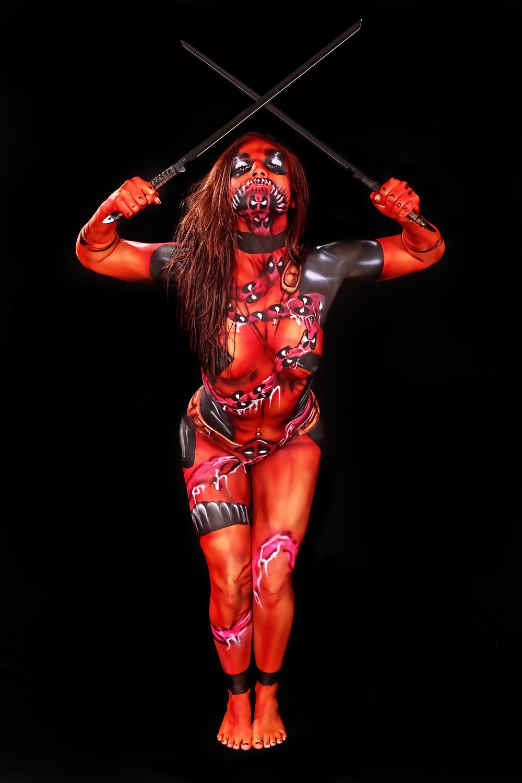 lady deadpool body paint for Skin wars artwork