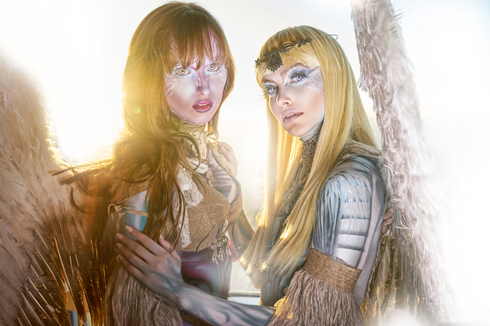 two angels body painted