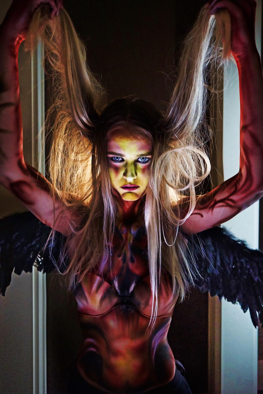 evil girl halloween body paint