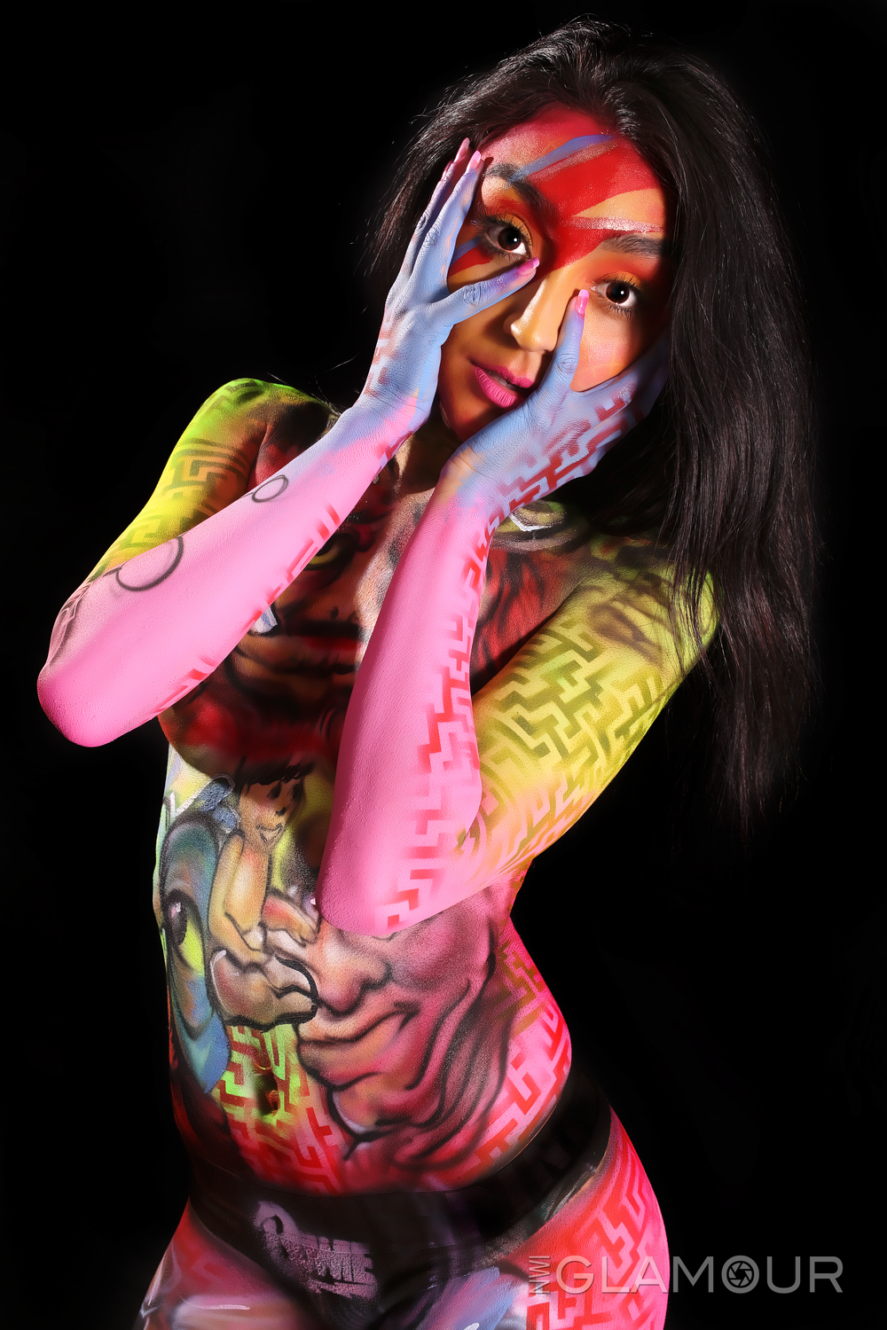 colorful girl painted david bowie style