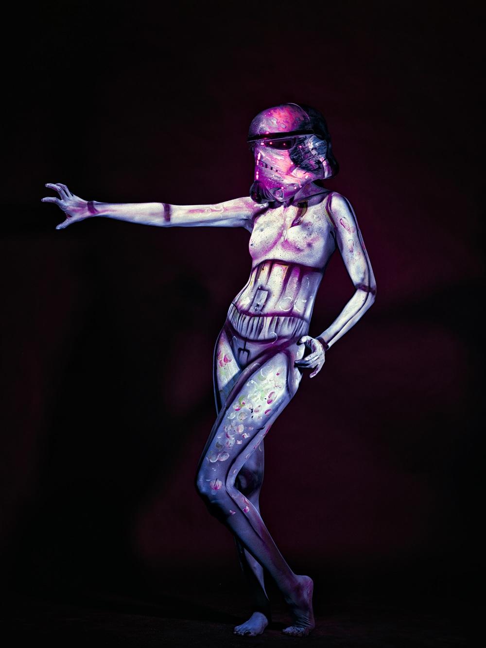 body paint: storm trooper cosplay