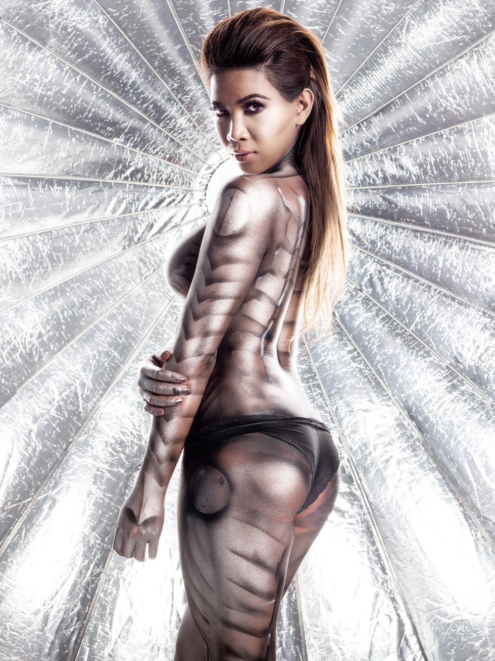 silver queen body painting