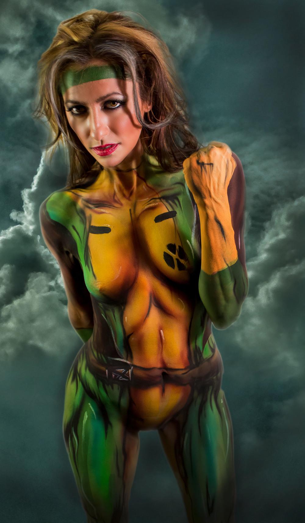 body paint X-men Rogue cosplay