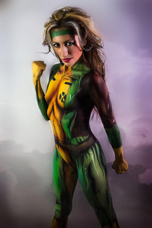 super hero rogue xmen cosplay body paint