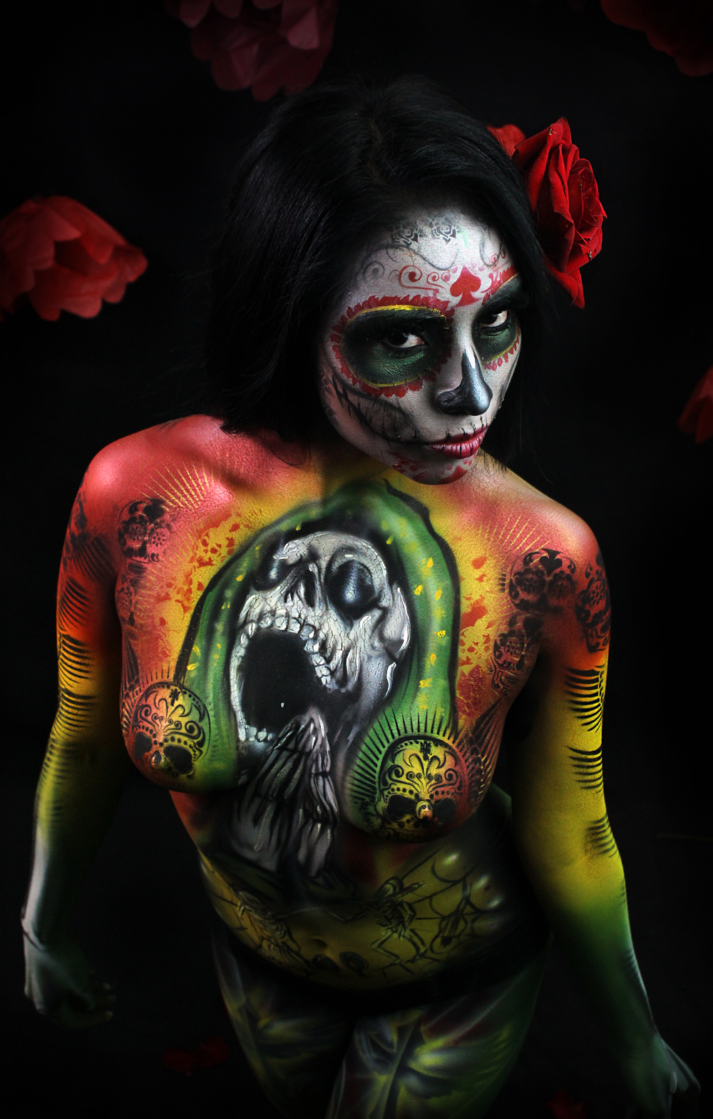 sexy body paint day of the dead Mexican art