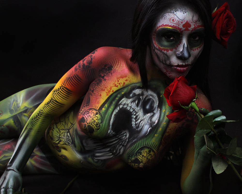day of dead body paint fine art