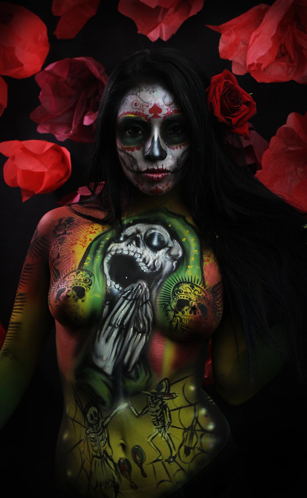 Cinco De mayo Body paint with skull