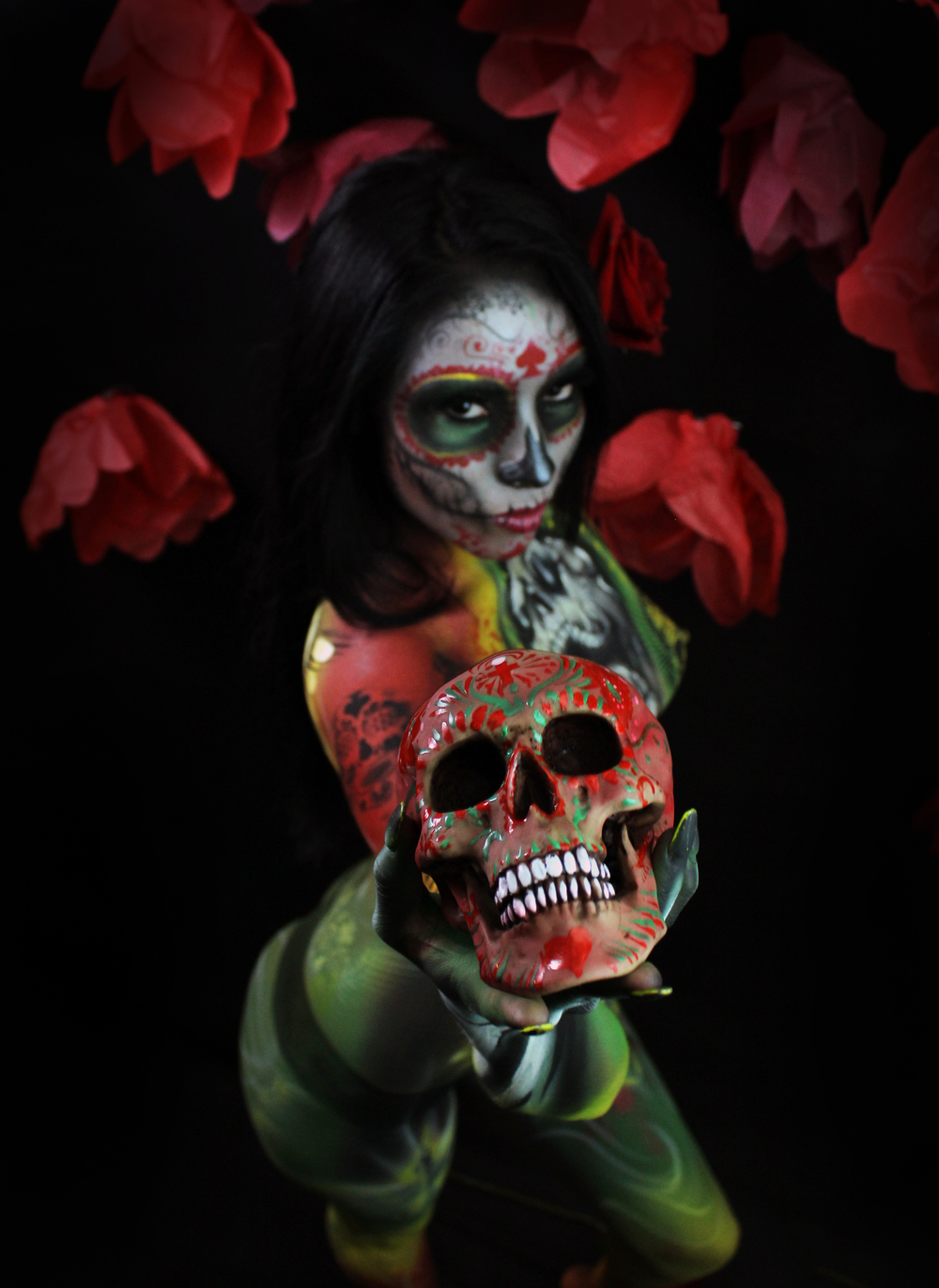 diego body paint with skull mexico art