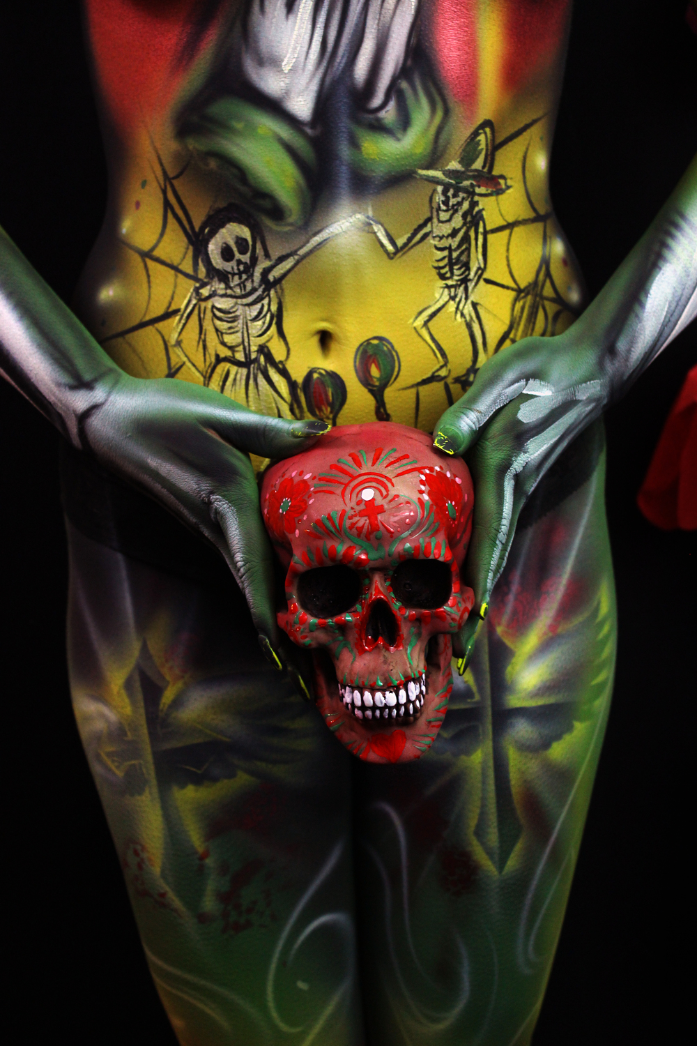 skull body art day of the dead airbrush piece
