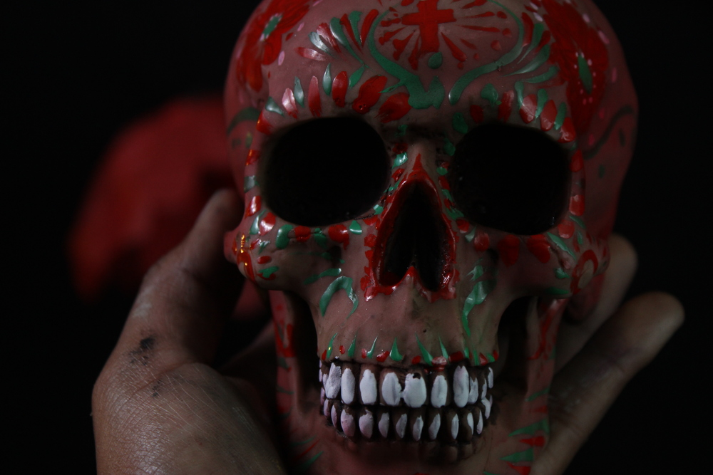 day of dead mexico skull painted by diego gonzalez
