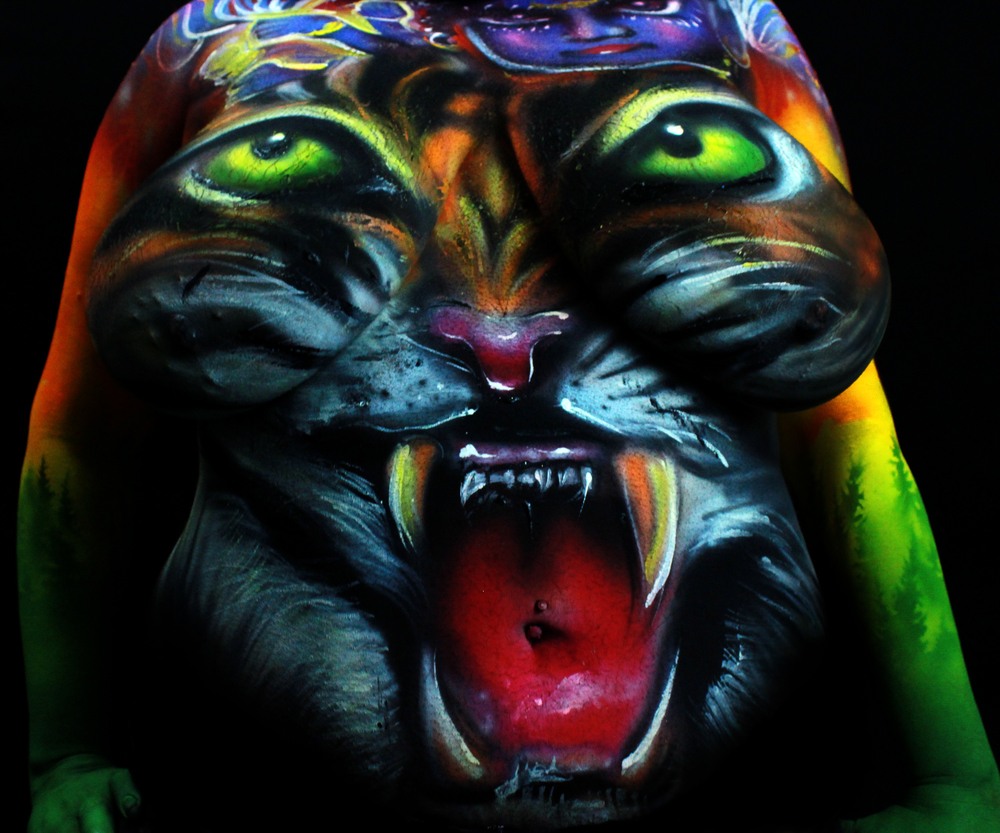 body painting of tiger roaring