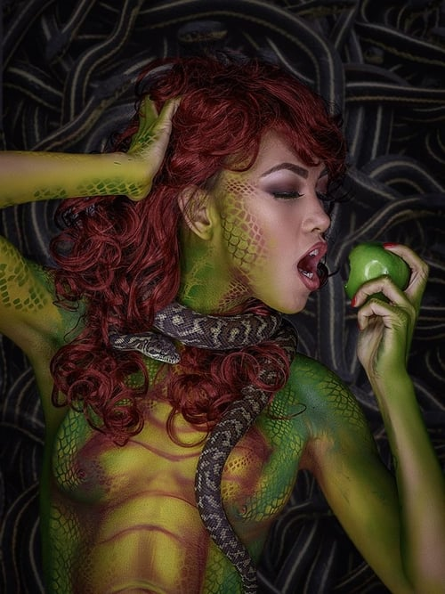 mia grey chicago body paint snake shoot