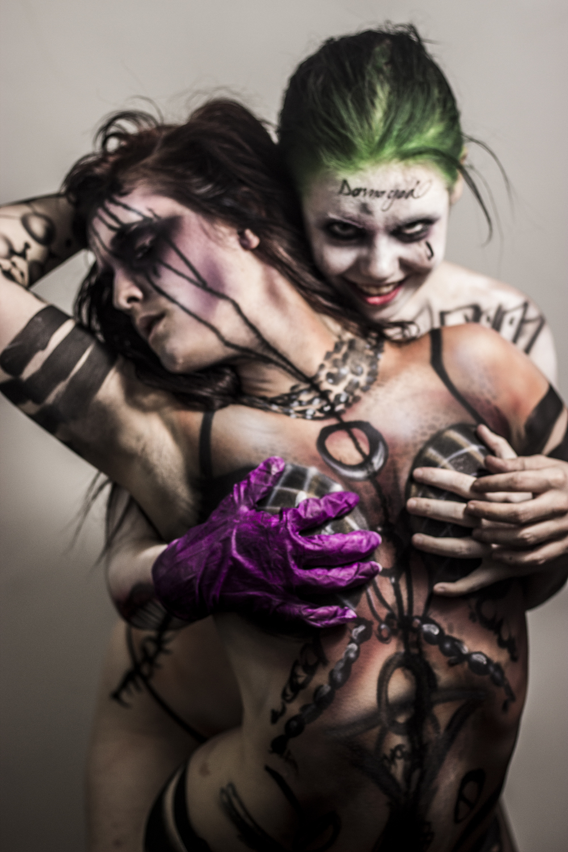 Joker and enchantress body paint