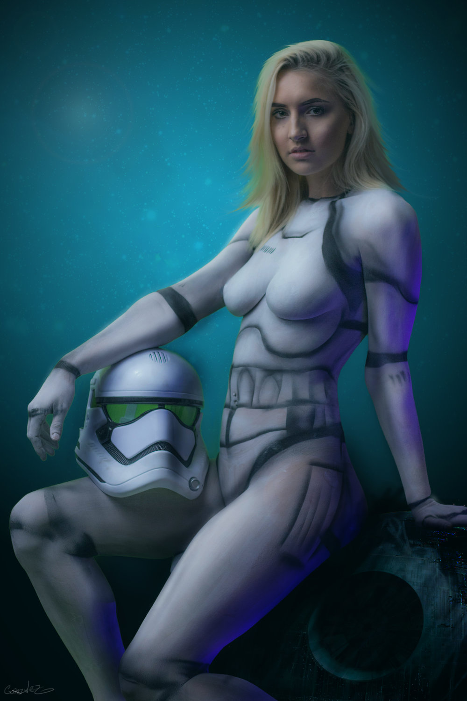 storm trooper body paint by diego gonzalez model Destiny Sams