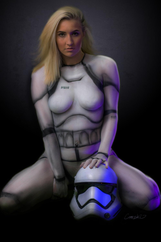 body paint model star wars rogue one Destiny Sams and Diego Gonzalez