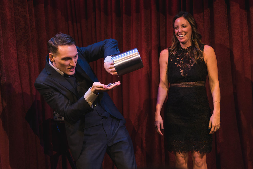 Magician Nick Paul performing for a corporate event at The Magic Castle in Hollywood, CA.