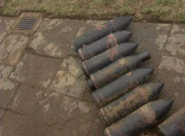 Huge artillery shells left behind in government owned recreational park on Fort Hancock in Sandy Hook, NJ.