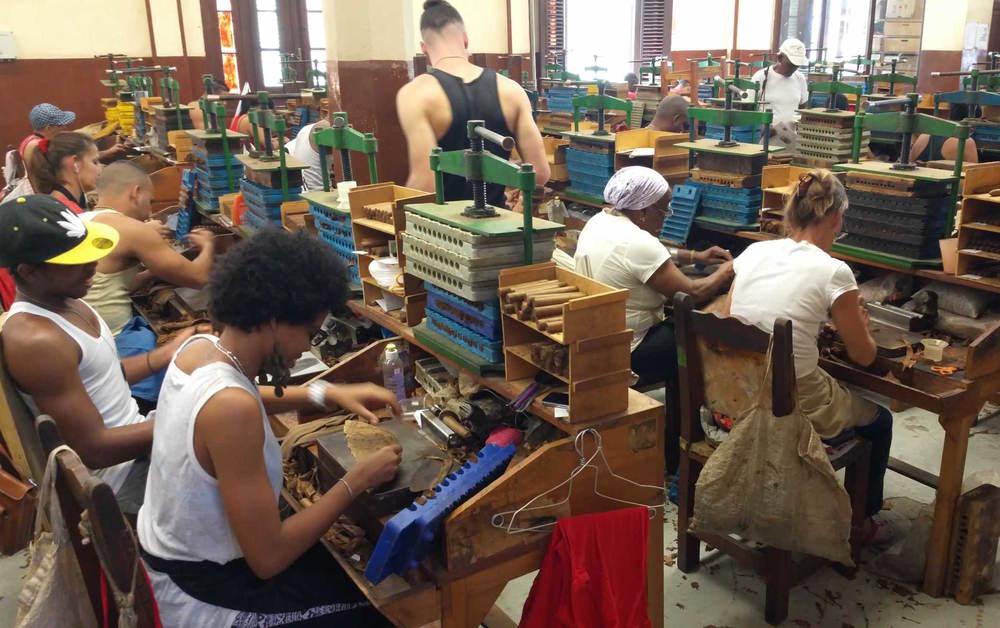 Cigar factory workers, Havana, Cuba