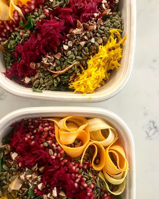 Grain salads loaded with veggies, nuts and seeds