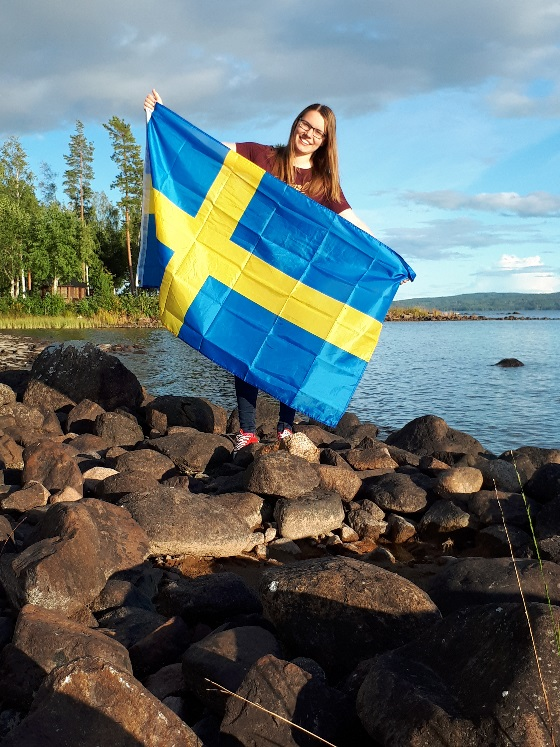 Here I am with the Swedish flag.