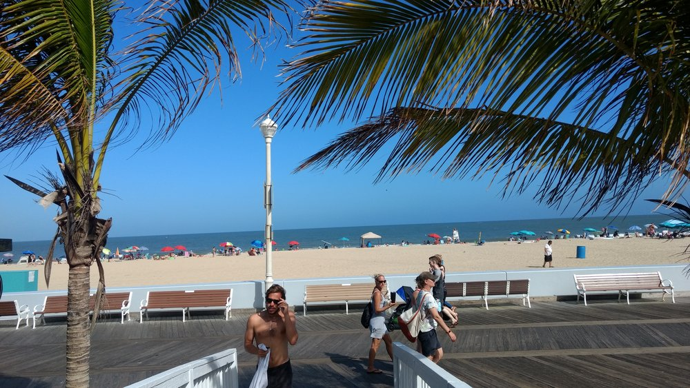 View of the boardwalk and beach from the shops.