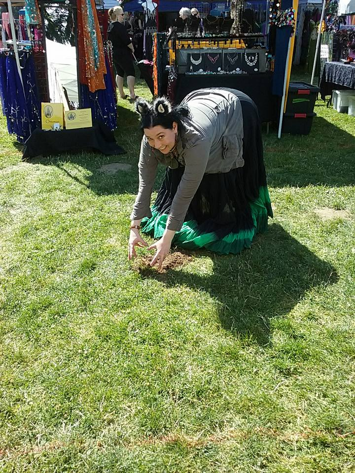 Rebecca tries to catch a mole at med fest!