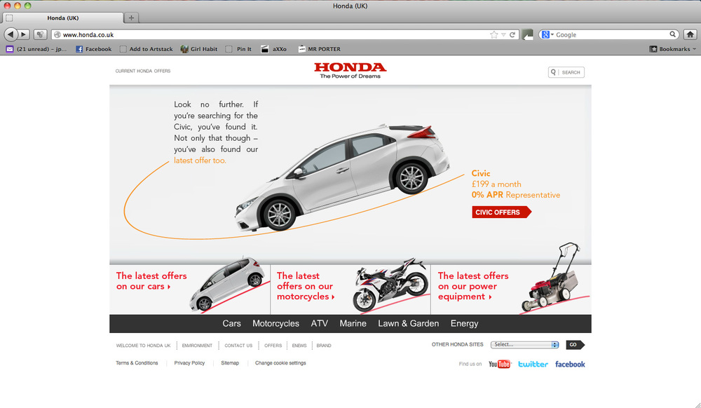 I Designed And Animated The New Look For Hondas Car Bikes Website Karmarama Oh Also Lawnmowers Obviously