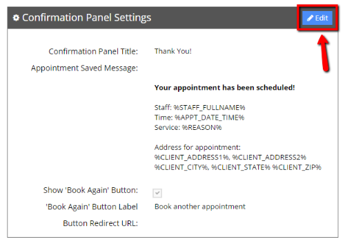 Edit your Confirmation Panel Settings
