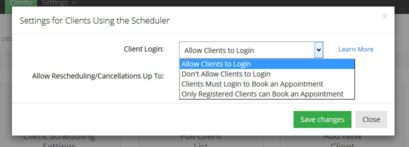 Allow your clients to login to your web scheduler