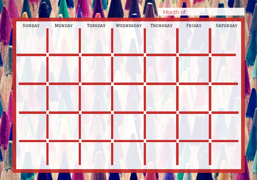 Free printable calendars for teachers students for Create my own calendar template