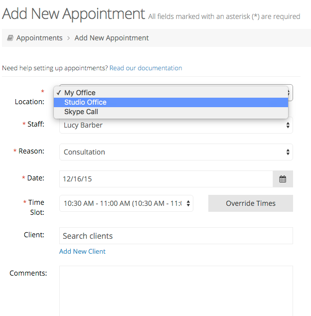 Adding new appointment and choosing a location