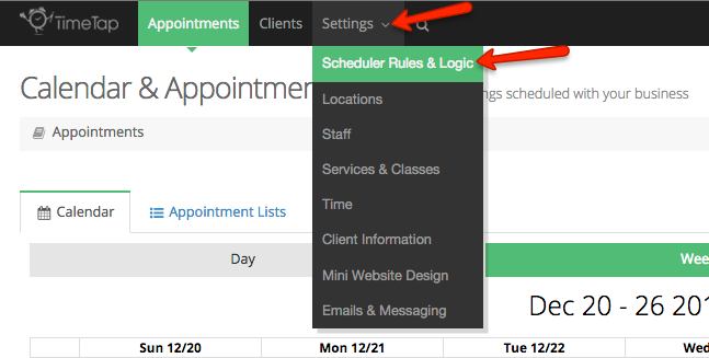 Choose the Scheduler Rules & Logic tab