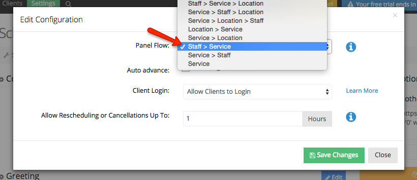 Change the web scheduler's panel flow