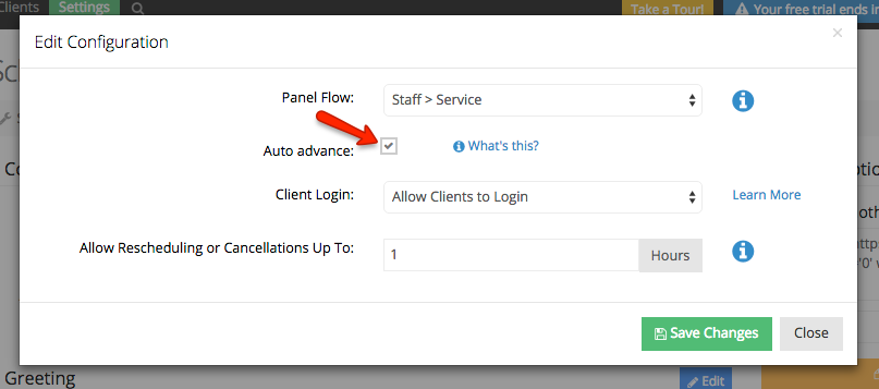 Select the option to automatically bypass scheduling panels