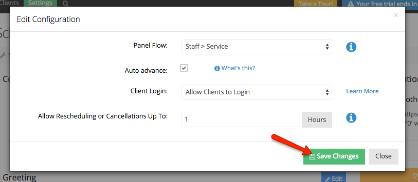 Save changes for your web scheduler's configurations