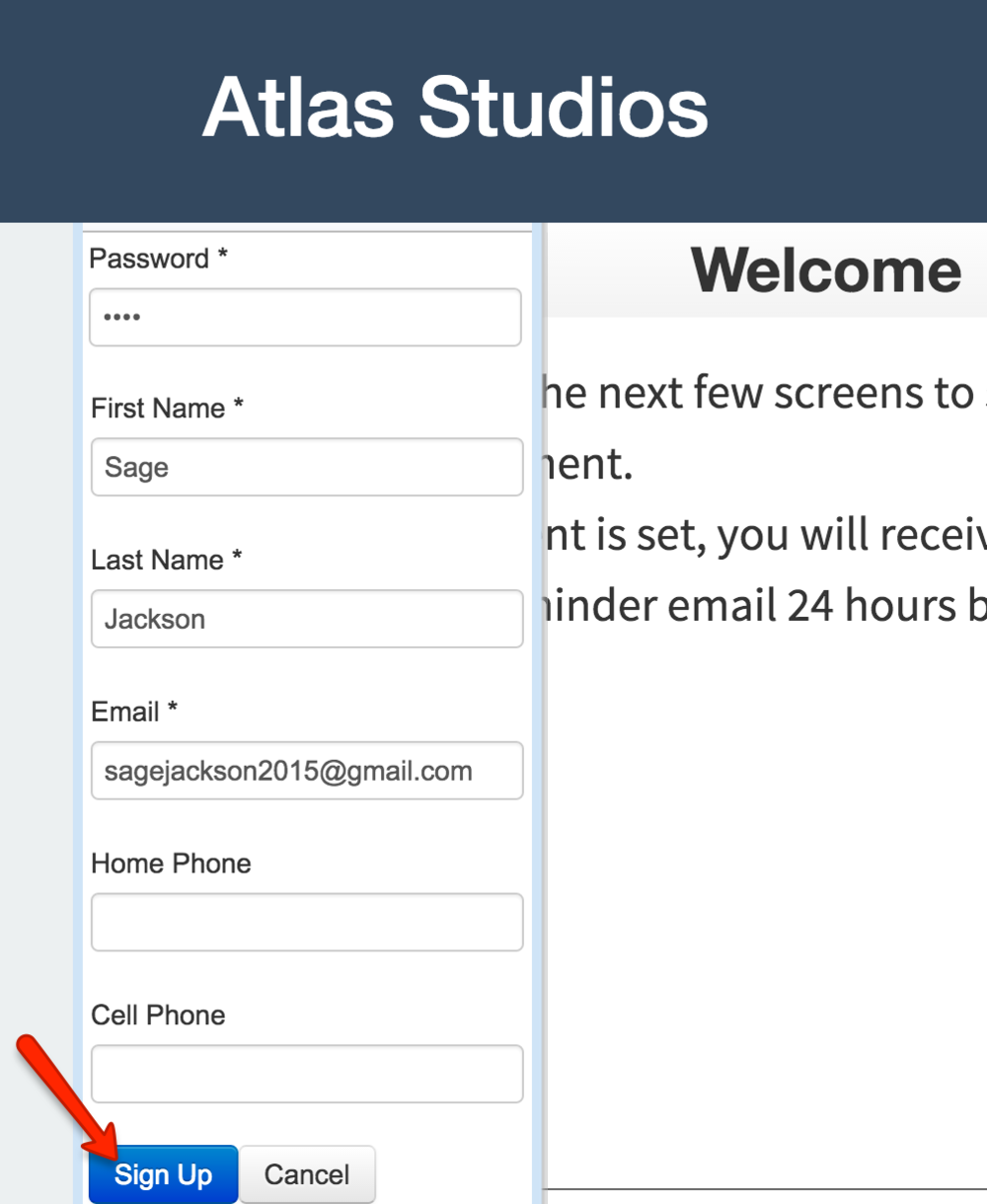 "Clients can fill in their information and click ""Sign Up"""