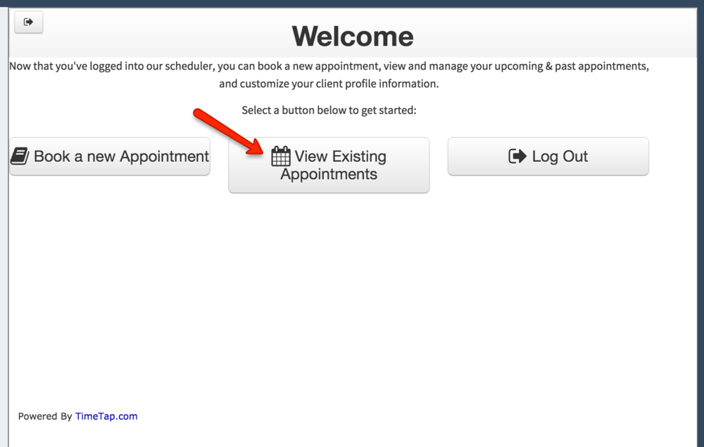 "Click on the ""View Existing Appointments"" button"