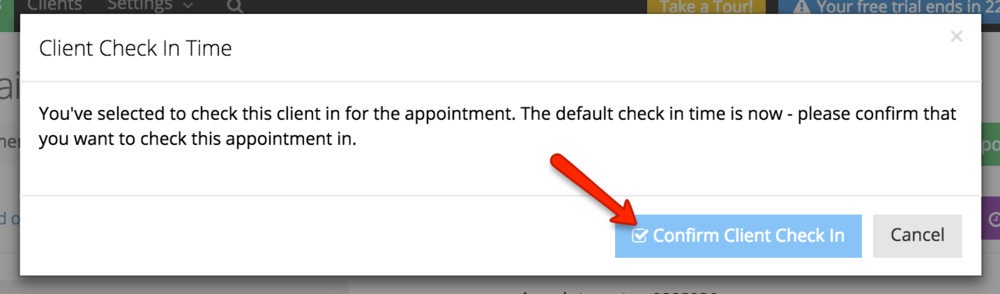 Confirm that you want to check in the client