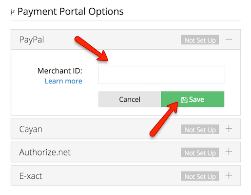 """For the PayPal Payment Portal, enter in your Merchant ID and click """"Save"""""""
