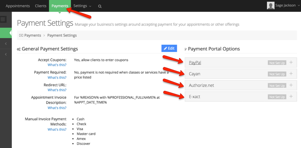 Choose a Payment Portal to set up