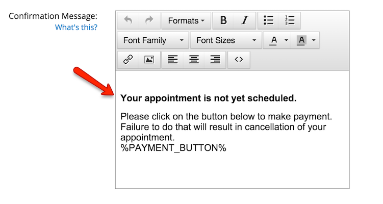 Edit your Confirmation Message