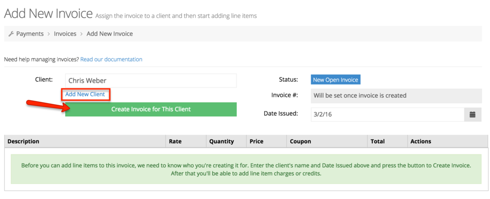 Create a new invoice for your client