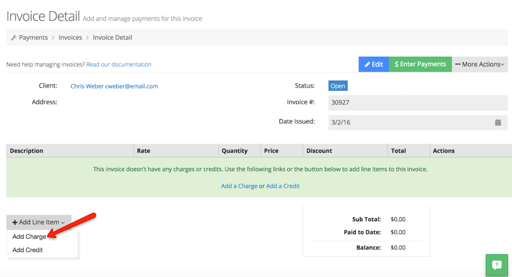 Add a new charge to client's invoice