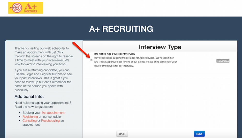 Prevent confusion by showing the correct interview appointment