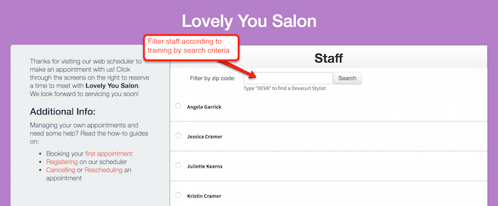 Show clients the nearest available staff members by filtering