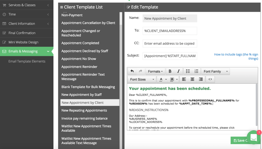 "Past the email tag for reason instructions in the ""New Appointment by Client"" email template"