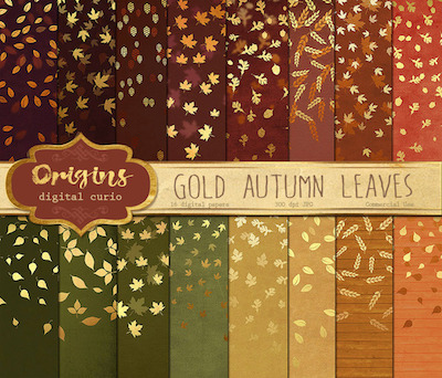 Gold autumn leaves bokeh backgrounds via Origins Digital Curio at CreativeMarket.com