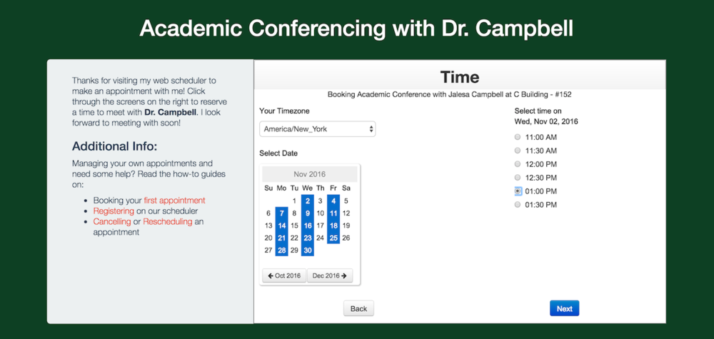Choosing a time for conferencing