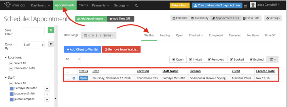 How to see waitlist registrants in the BackOffice
