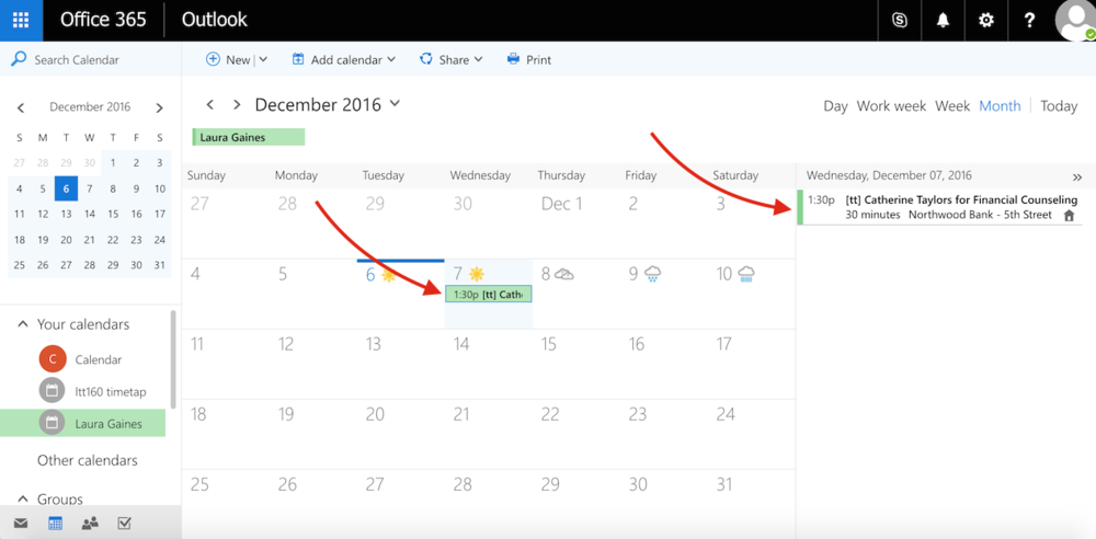 View the scheduled appointment on your Office 365 calendar